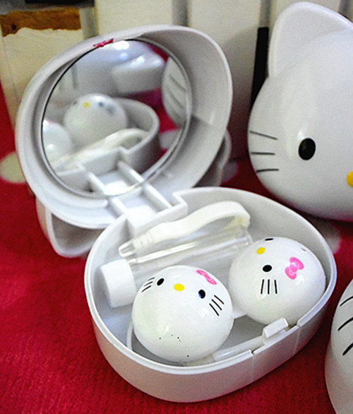 Xingkings New Cute Hello Kitty Design Contact Lens Case Soak Storage Cosmetic Box with Mirror KX-0855