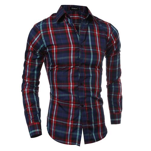 2018 Autumn Winter New Men Plaid Slim Fit Casual Long Sleeve Shirt Fashion chemise homme Brand Clothing camisa masculina Shirt