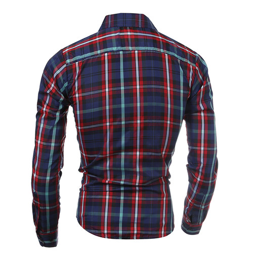 2018 Autumn Winter New Men Plaid Slim Fit Casual Long Sleeve Shirt Fashion chemise homme Brand Clothing camisa masculina Shirt