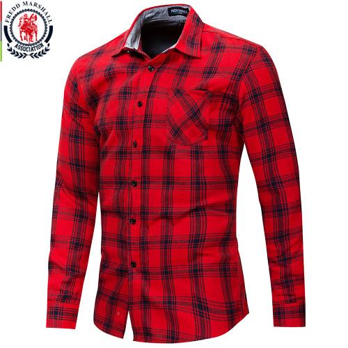 Fredd Marshall 2018 Autumn New Long Sleeve Slim Fit Plaid Dress Shirt Men 100% Cotton Check Shirt Fashion Brand Men Clothing 174
