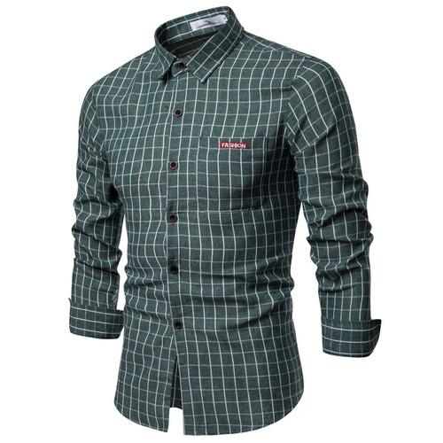 New Autumn Fashion Brand Men Clothes Slim Fit Men Long Sleeve Shirt Men Plaid Cotton Casual Men Shirt Social