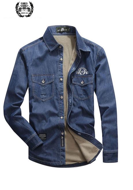 6f59d70481af 2019 M~5XL Fleece Spring Autumn Denim Shirts Man Dress Shirt Brand CLOTHES Slim  Fit · Choose Options