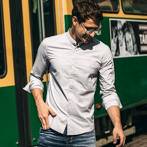 Autumn Men Shirt Cotton Solid Gray Color For Man Fashion Long Sleeve Slim Fit Clothes Male 2018 New Wear Brand Clothing 02112
