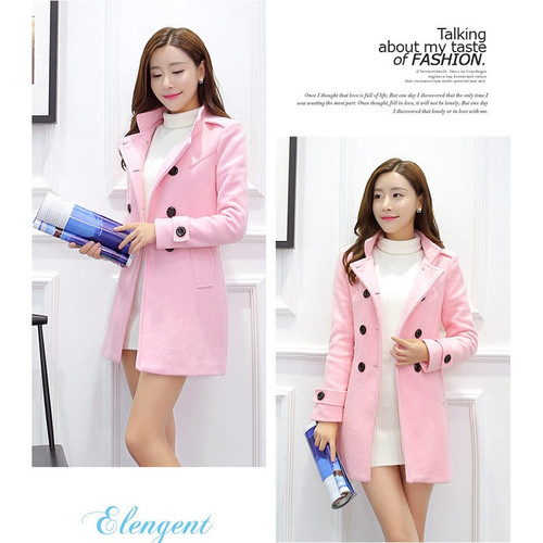 Woolen Coat Women's Long Section Korean 2018 Thickening Winter New Student Wool Coat Lapel Blue Pink S-2XL Sweet Fashion A210