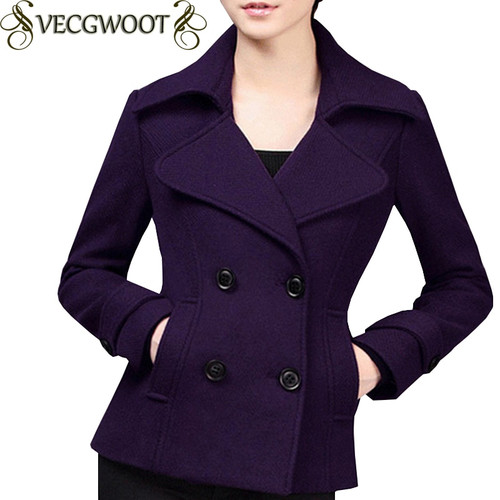 Female Short Woolen Coat Women 2019 Autumn/Winter New Fashion Slim Large size S-4XL Woolen Coat Women Solid color Coat X912
