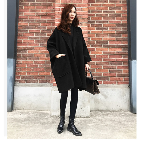 2019 New Women's Winter Jacket Loose Large Size Long Woolen Coat Cocoon Caramel Color Simple Coat Female Outwear S-2XL WYT546