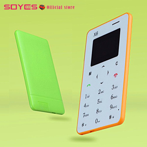 Original SOYES X6 Mini Card Phones Slim Thin Student Ultra Thin Unlocked Small Mobile Cellphone Bluetooth Dialer