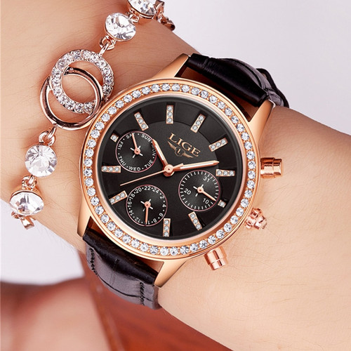 Relogio feminino 2017 LIGE Luxury Brand Women Dress Watches Ladies Waterproof Leather Quartz Watch Woman Diamond Wrist watches