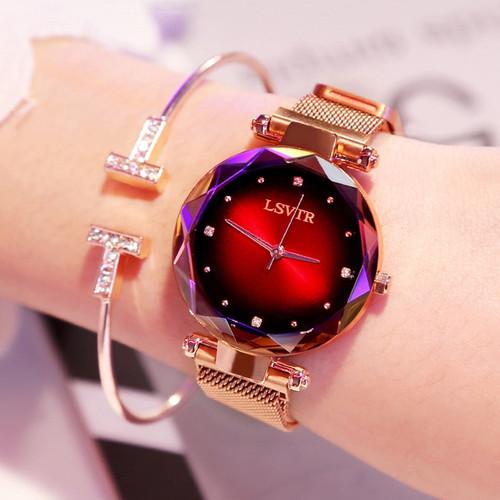 Luxury Rose Gold Watches Women Bracelet Fashion Diamond Ladies Dress Starry Sky Magnetic Quartz Wristwatch 2019 relogio feminino