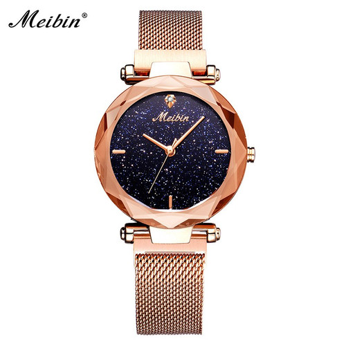 MEIBIN Fashion Women Quartz Watches Luxury Starry Sky Dial Magnet Buckle Ladies Wristwatch Dress Clock Relogio Feminino 1211