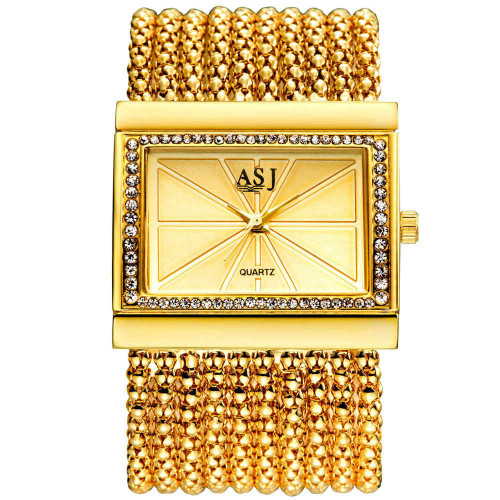 ASJ Brand Lady Bracelet Watches Women Luxury Fashion Casual Wristwatch Clock Dress Quartz Wrist watch Gold Relogio Feminino