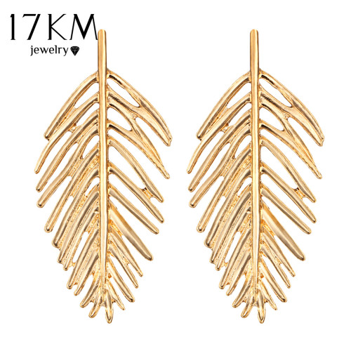 17KM Gold Color Oversize Leaves Earrings For Women Bijoux Bohemian Fashion Stud Earring Statement Jewelry Party Wholesale