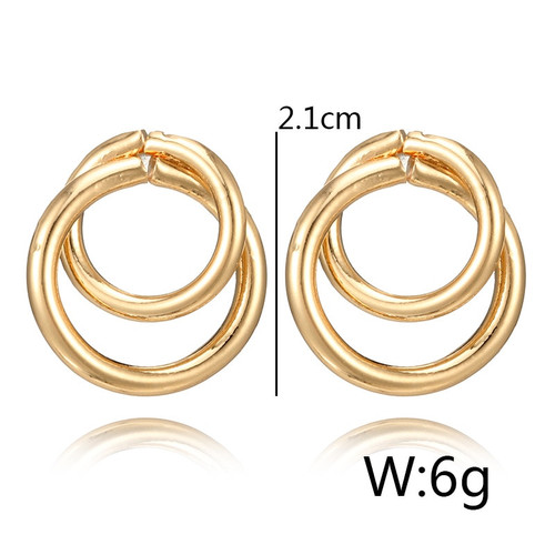 Crazy Feng Trendy Statement Earring Jewelry For Women Fashion Gold/Silver Color Double Round Circle Stud Earrings Wedding Brinco