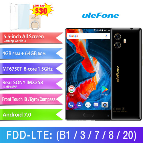 Ulefone MIX 13MP Dual Camera Mobile Phone 5.5 inch MTK6750T Octa Core Android 7.0 4GB+64GB Fingerprint 4G Smartphone