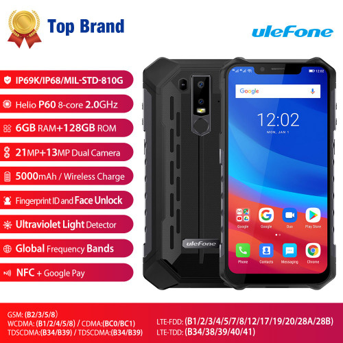 Ulefone Armor 6 IP68/IP69K Waterproof Mobile Phone Android 8.1 Helio P60 Octa Core 6GB 128GB Face ID NFC Rugged Smartphone