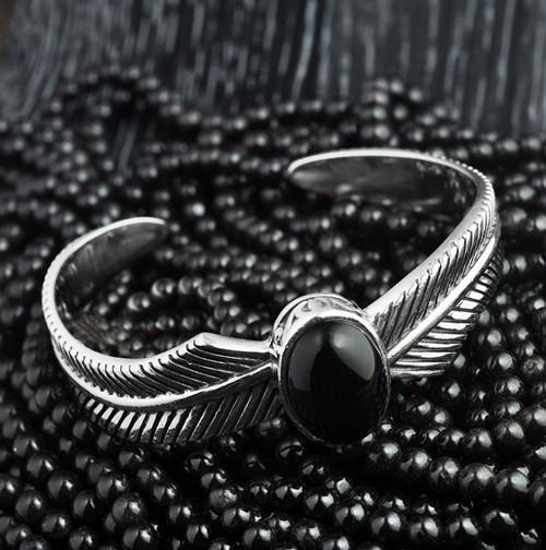 S925 Sterling Silver Men's Feathers Black Onyx Open Bracelet Personalized Retro Jewelry