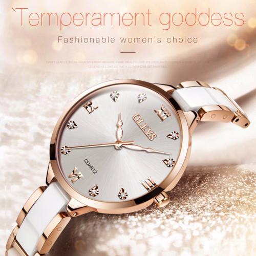 OLEVS Famous Luxury Brand Fashion Women's Watches for Women Original High Quality Rhinestone Steel Ceramic Bracelet Ladies Watch