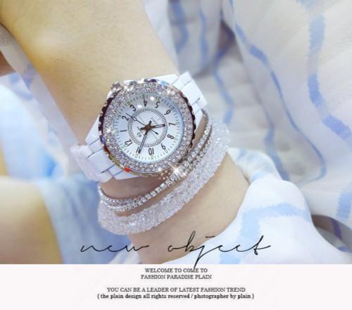 2018 New Luxury Women Watches White Ceramic Diamond Ladies Female Watch Gift Relogios Femininos Fashion Quartz Wristwatch Clock