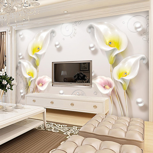 3D Wallpaper Modern Simple Fashion Stereo Relief Jewelry Yellow Flowers Photo Mural Living Room Bedroom Hotel Papel De Parede 3D