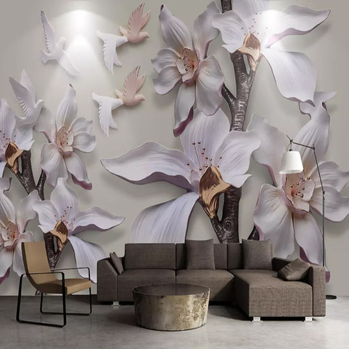 Custom Photo Wallpaper 3D Stereo Flowers Magnolia Murals Living Room Bedroom Home Decor Background Wall Painting Papel De Parede