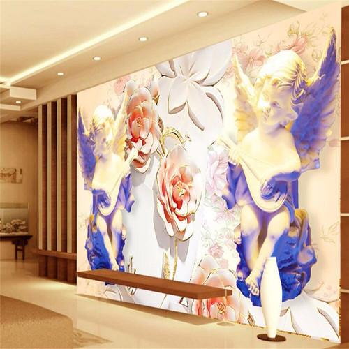 beibehang Custom 3D Photo Wallpaper Stereo Large Murals Europe angel flower sculpture room room bed wallpaper flash silver cloth