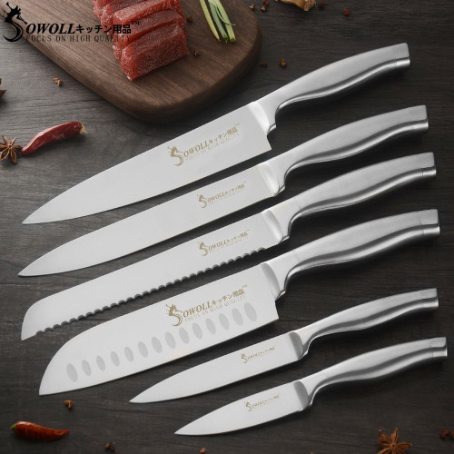 SOWOLL Master Chef Stainless Steel Kitchen Knife Set Utility 7Cr17mov Ultra Sharp Blade Cooking Knives Top Quality Kitchenwares