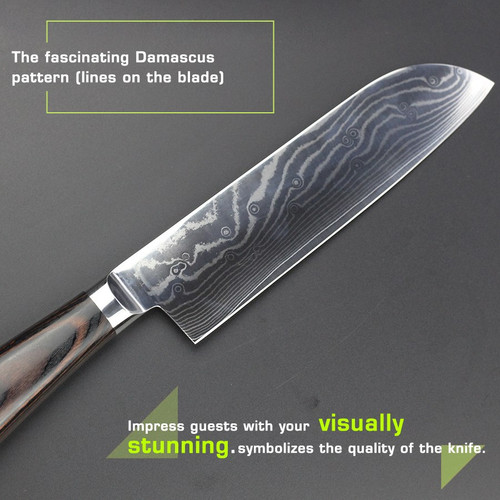 "HAOYE 7"" Damascus Santoku knife Japanese vg10 quality kitchen knife cut meat fish vegetable fashion slicer cutter knife cooking"