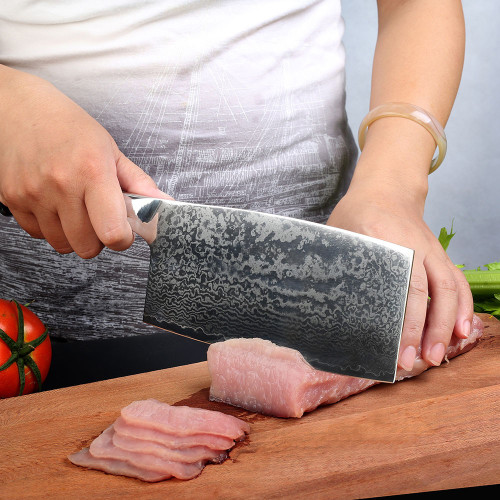 "SUNNECKO 7"" inches Cleaver Kitchen Knife Japanese Damascus VG10 Steel Blade Knives Cutting For Chef Cooking Knife New Arrival"
