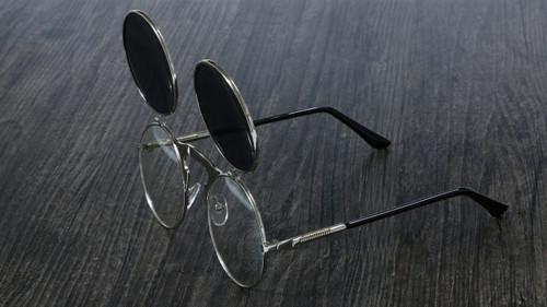 Steampunk Sunglasses Round Metal OCULOS De Sol Women Style Retro Flip Circular Double Metal Sun Glasses Men CIRCLE SUN GLASSES