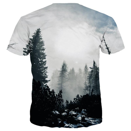 Mr.1991INC New Arrivals Men/Women 3d T-shirt Print Winter Forest Trees Quick Dry Summer Tops Tees Brand Tshirts Imported