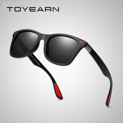TOYEARN Classic Square Polarized Sunglasses Men Women Brand Designer Vintage Driving Goggle Rivet Mirror Male Sun Glasses UV400