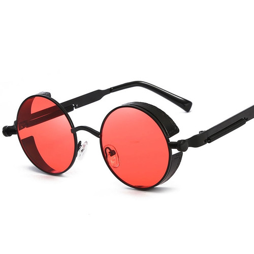 Retro Round Metal Steampunk Sunglasses Men Women Fashion Glasses Brand Designer Vintage Sunglasses High Quality UV400 Eyewear