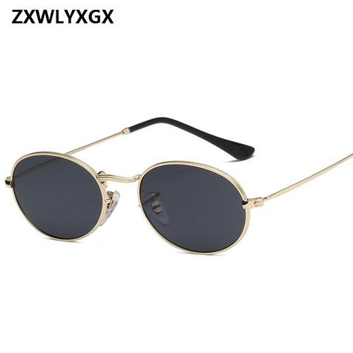 ZXWLYXGX 2018 Vintage Oval Small Metal Frame Steampunk Sunglasses Men Women New Fashion Sun Glasses Female Eyewear Oculos De Sol