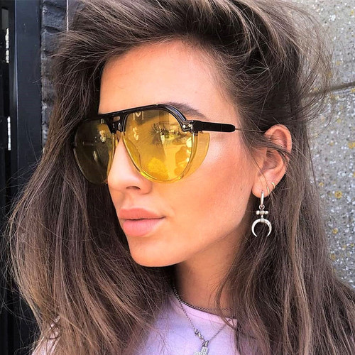 Gothic Goggle Sunglasses Men Women Vintage Steampunk 2018 Fashion Shades UV400 Vintage Brand Glasses Designer 47794