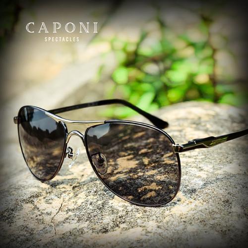 Caponi Driving Photochromic Sunglasses Men Polarized Chameleon Discoloration Sun glasses for men oculos de sol masculino RB8722