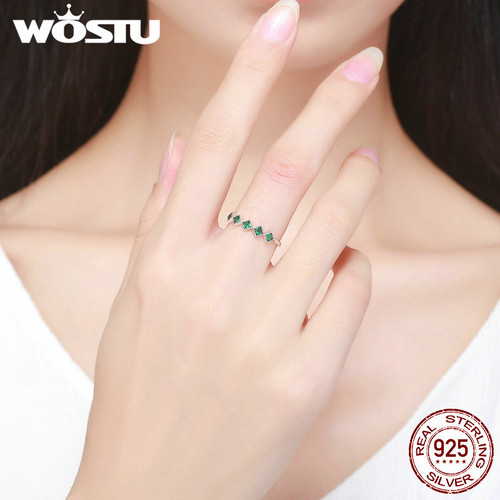 WOSTU New Fashion Authentic 100% 925 Sterling Silver Green CZ Elegant Finger Ring For Women S925 Silver Fine Jewelry Gift DXR097