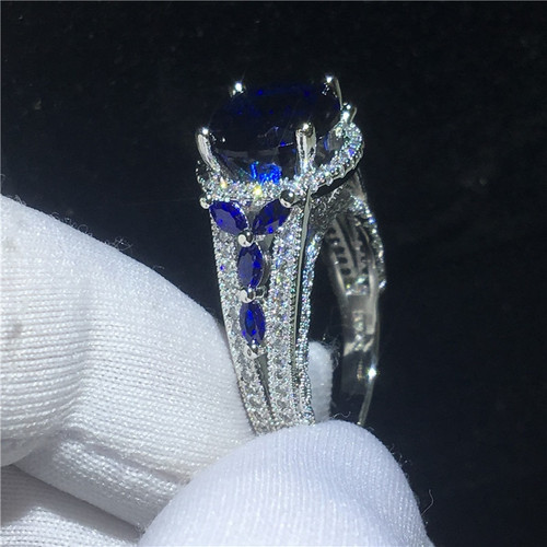 Elegant Flower ring 5ct Blue s AAAAA Cz Stone 925 Sterling silver Party wedding band ring for women men Finger Jewelry