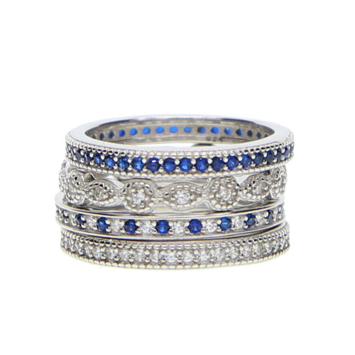 2018 top quality elegant 925 pure silver women ring delicate silver thin ring set blue cz paved 4pc ring set stackable ring drop