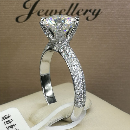 Vecalon Elegant Design 100% Real 925 Sterling Silver ring 5A Zircon Cz Engagement wedding Band rings for women Bridal Jewelry