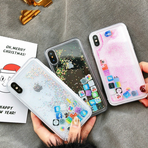 Cute Amusing Mobile apps Icon Case cover For iphone 7 8 6 6s Plus X XR XS Max Glitter Liquid Quicksand Transparent Phone Cases