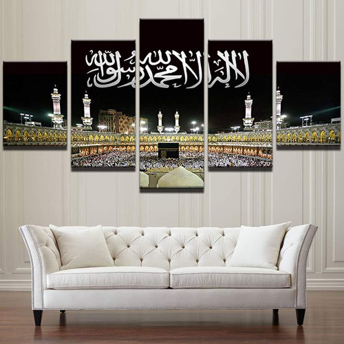 Wall Art Pictures Home Decor Frame Modern HD Prints 5 Panel Islamic Mosque Castle Painting Allah The Qur'an Canvas Poster PENGDA