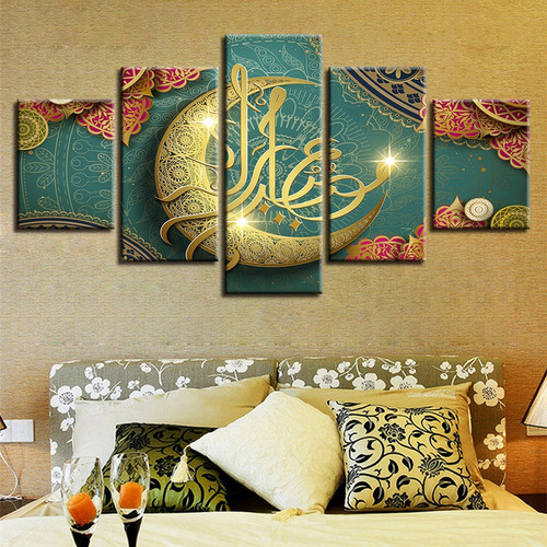 HD Printed Decoration Living Room Paintings 5 Pieces Islamic Muslim Mosque Ramadan Poster Canvas Pictures Frame Modular Wall Art