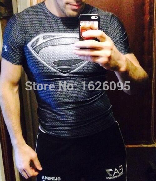 New Arrived Men t shirt Short Sleeve superman/batman quick dry Slim Fit men's Tops, Tees 133 Imported