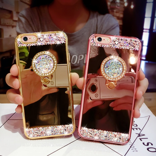 Fashion Diamond Soft TPU Crystal Rhinestone Glitter Mirror Phone Case For Samsung S8 S9 S8 Plus S9 Plus with Ring Holder Stand