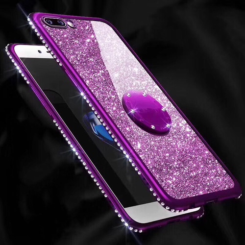Bling Diamond Case For Samsung Galaxy A6 A8 A7 2018 S10 Lite S8 S9 Plus Finger Ring Cover for iPhone X XR XS Max 7 8 6 6S Plus