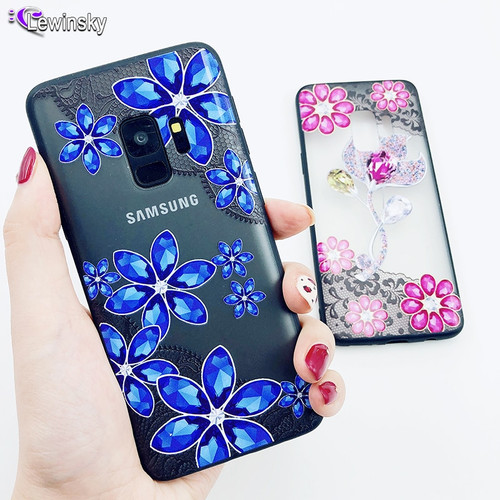 3D Diamond Phone Case For Samsung Galaxy A6 2018 A8 S8 S9 Plus S7 Edge J3 J5 J7 2017 Note 9 Sexy Lace Flower Clear PC Back Cover