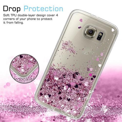 Fashion Glitter Stars Hearts Diamond Liquid Quicksand Clear Phone Cases For Samsung Galaxy S6 S7 Edge S8 S9 Plus Note 8 9 3 4 5