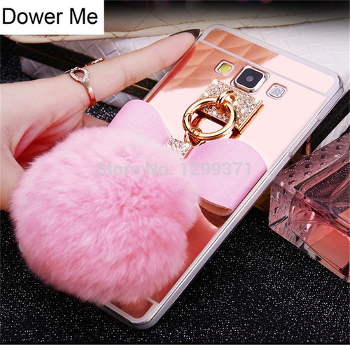 Dower Me Diamond Bowknot Rabbit Fur Ball Mirror Case Cover For Samsung Galaxy Note 9 8 5 4 3 S9 S8 S7 S6 Edge Plus A3/5/7/8