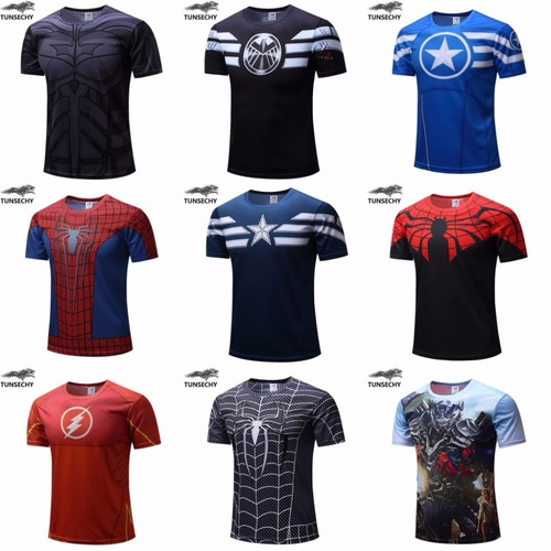 2018 t-shirt Superman/Batman/spider man/captain America /Hulk/Iron Man / t shirt men fitness shirts men Imported t shirts