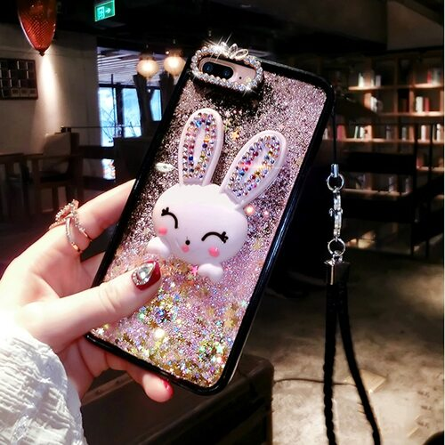 Diamond rabbit stand liquid phone case for iPhone 6 6s 7 8 plus XS max XR for Samsung galaxy s7 edge s8 s9 plus note 8 9 a8 plus